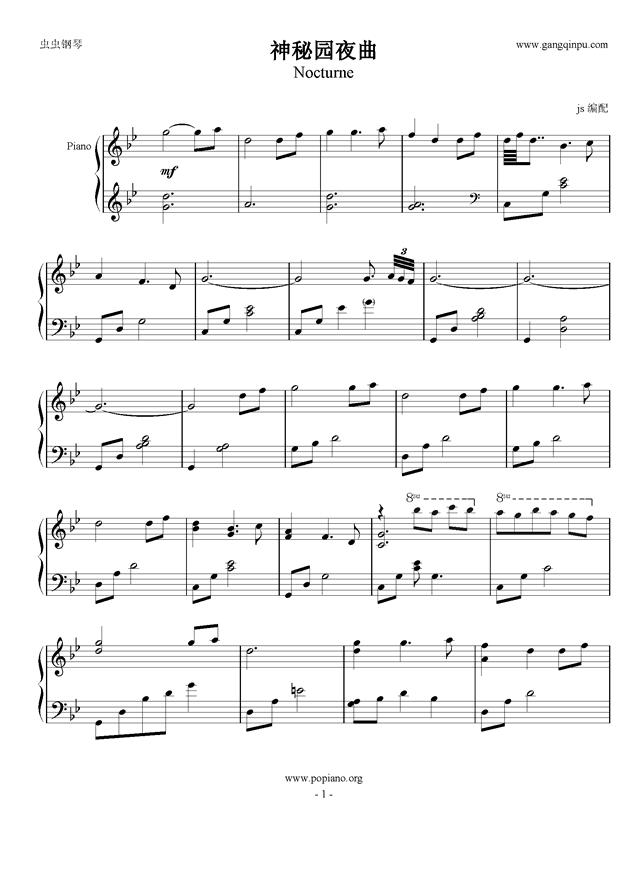 神秘园 夜曲,神秘园 夜曲钢琴谱,神秘园 夜曲钢琴谱网