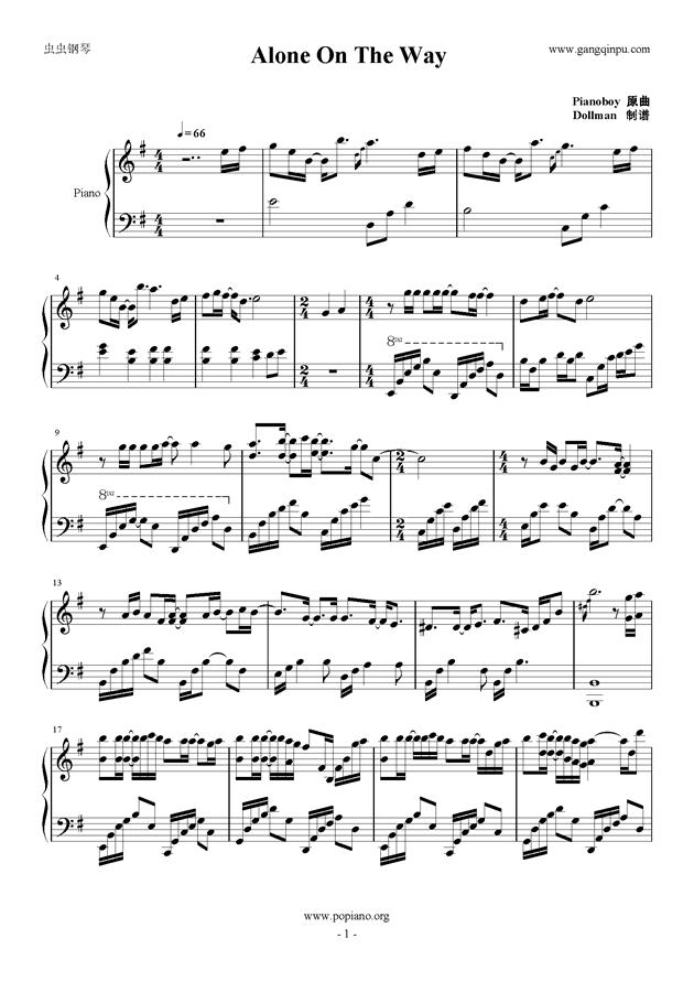 Alone On The Way钢琴谱 第1页
