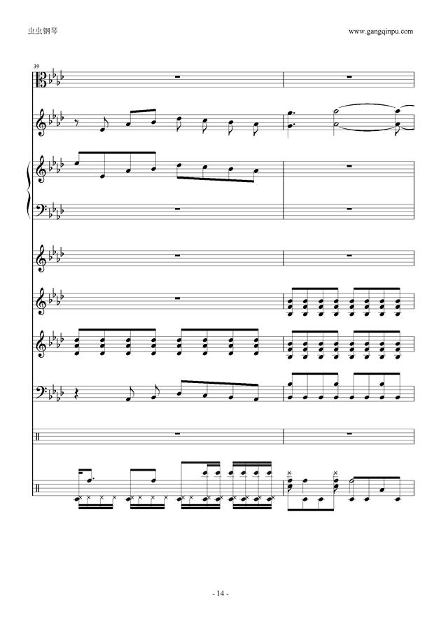 天刀文士水云游曲谱-刀剑神域 钢琴谱 op 总谱