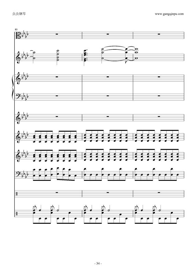 总谱 刀剑神域op overfly 伴奏, 总谱 刀剑神域op overfly 伴奏钢琴谱,