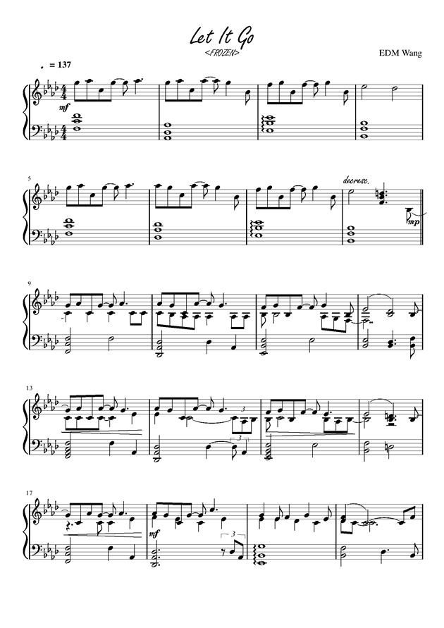 let it go,let it go钢琴谱,let it go钢琴谱网,let it go钢琴谱大全,虫虫钢