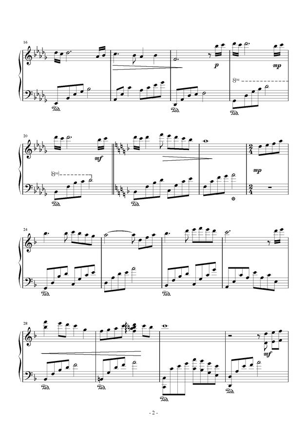 无题钢琴谱 第2页
