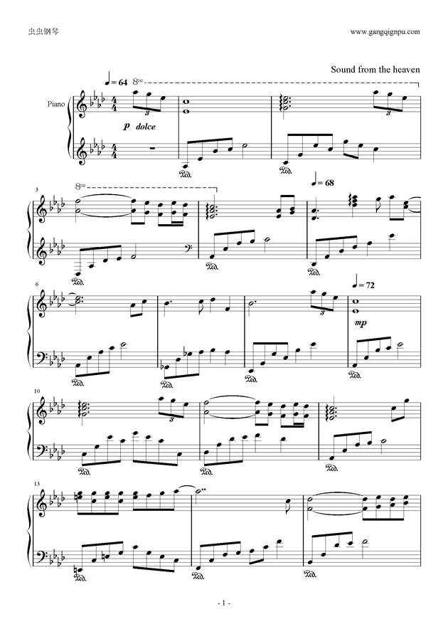 左耳钢琴谱 第1页