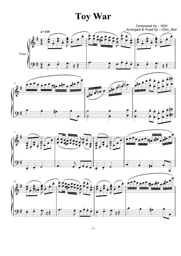 Toy war钢琴谱 第1页