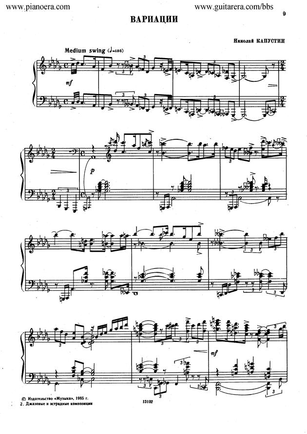 Nikolai Kapustin Variations Op. 41钢琴谱 第1页