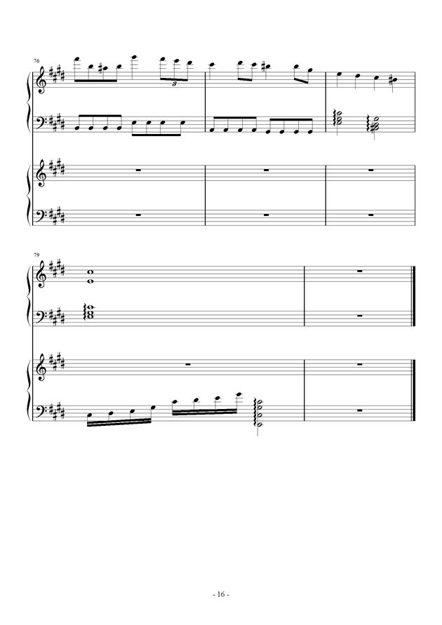 夜的狂想曲钢琴谱 第16页