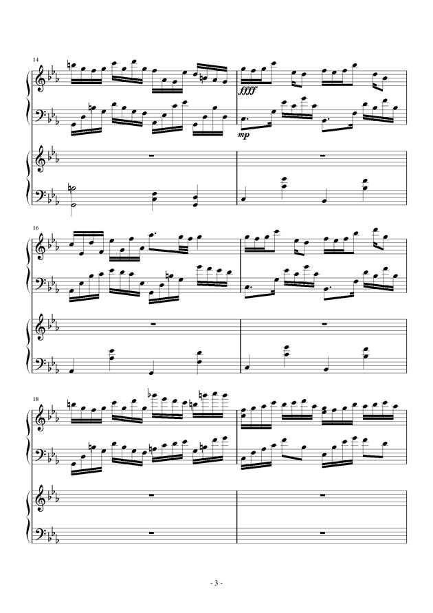 夜的狂想曲钢琴谱 第3页