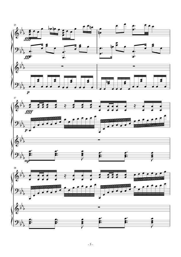 夜的狂想曲钢琴谱 第5页