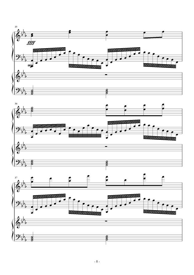 夜的狂想曲钢琴谱 第8页