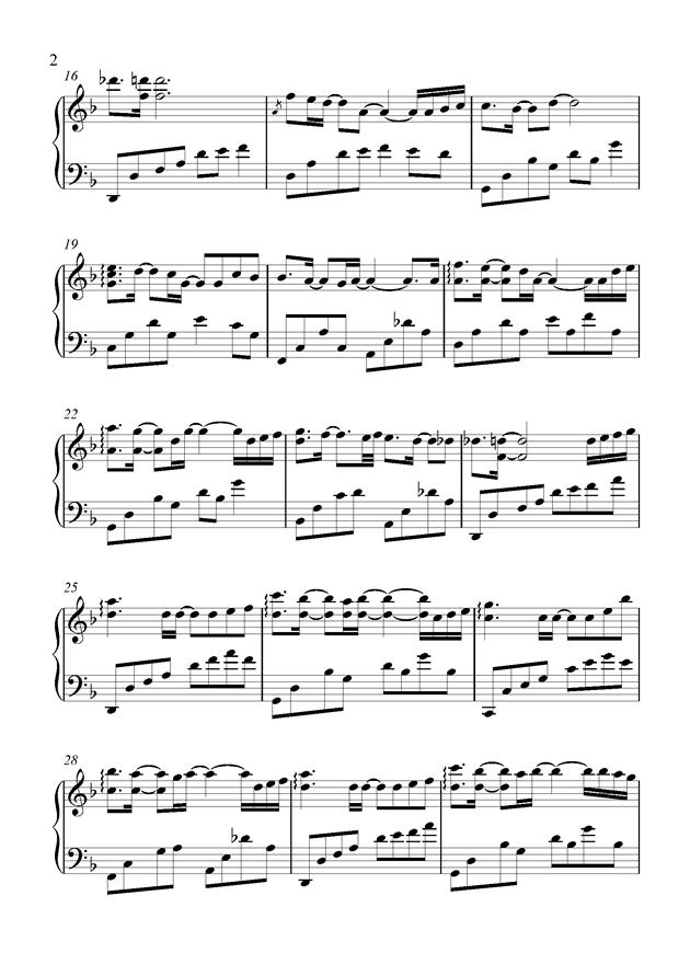 最美的夜晚钢琴谱 第2页