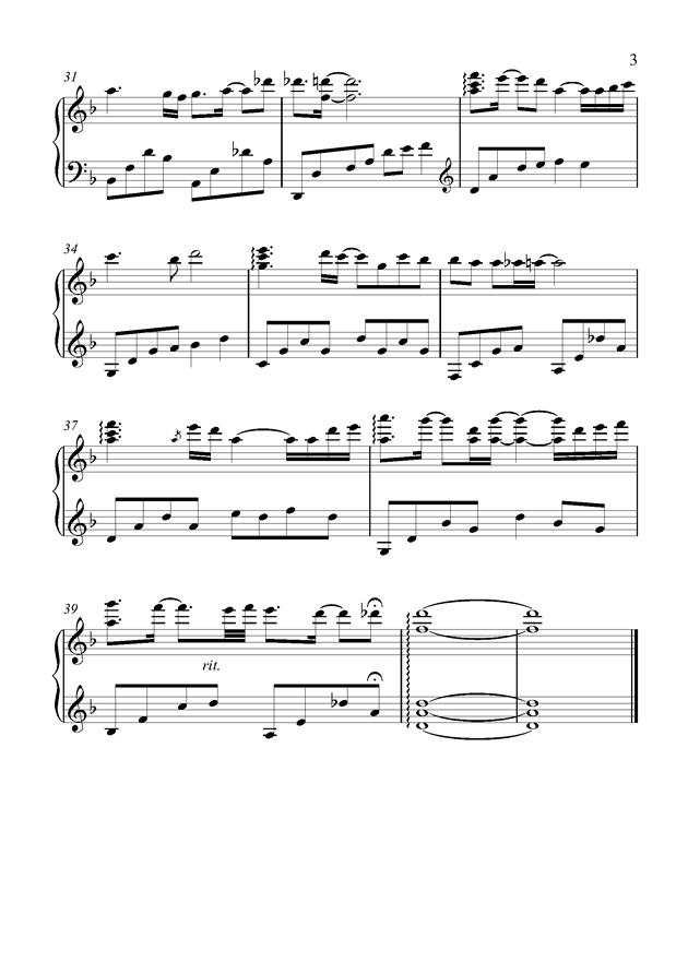 最美的夜晚钢琴谱 第3页