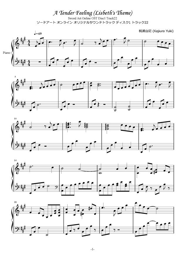 Lisbeth's Theme Lizbeth钢琴谱 第1页