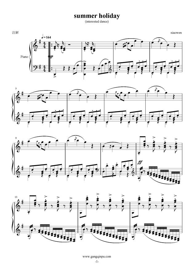 summer holiday钢琴谱 第1页