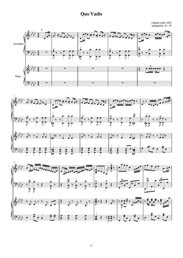 Quo Vadis钢琴谱 第1页