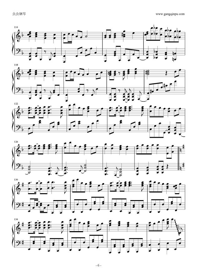 千本樱钢琴谱 第6页