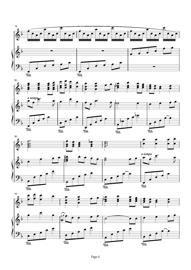 千与千寻和卡农合奏钢琴谱 第6页