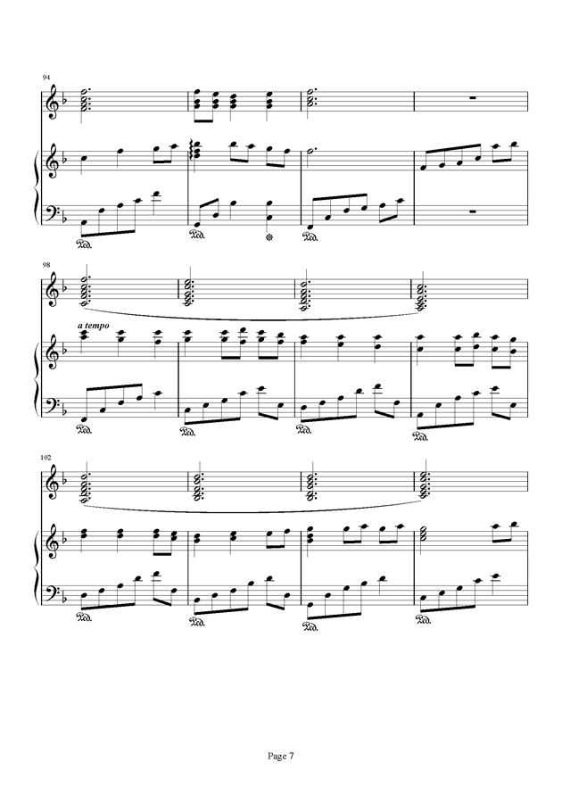 千与千寻和卡农合奏钢琴谱 第7页