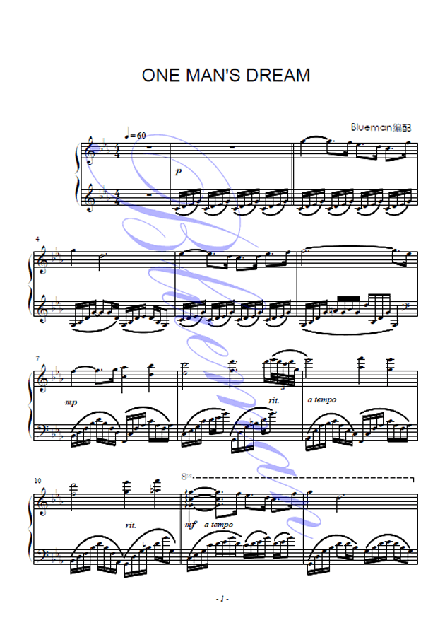 One Man's Dream钢琴谱 第1页