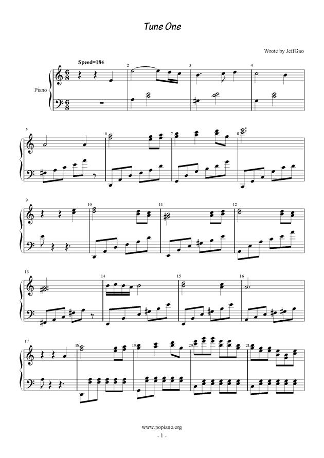 Tune One钢琴谱 第1页