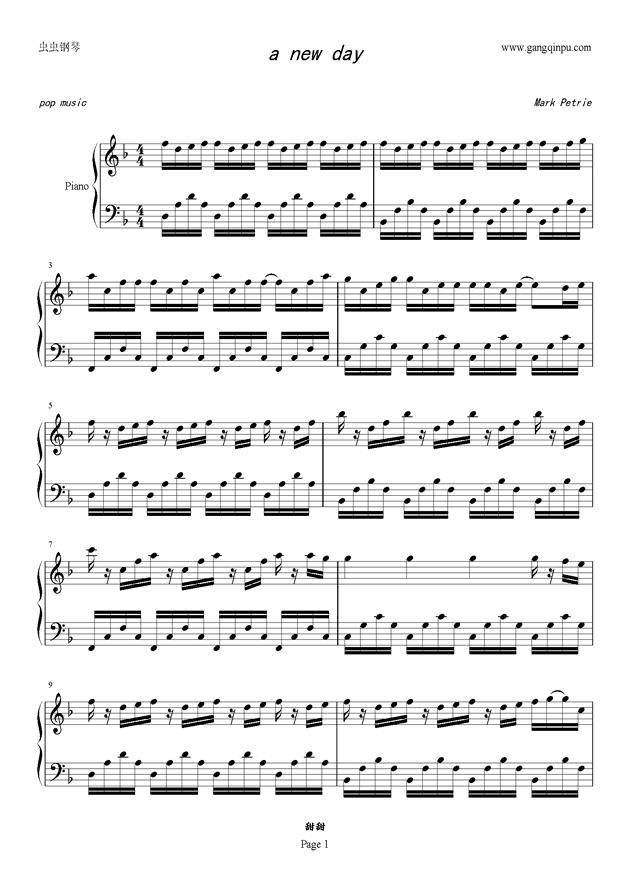 a new day,a new day钢琴谱,a new day钢琴谱网,a new day钢琴谱
