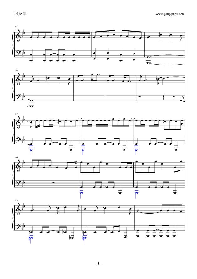 威风堂堂钢琴谱 第3页