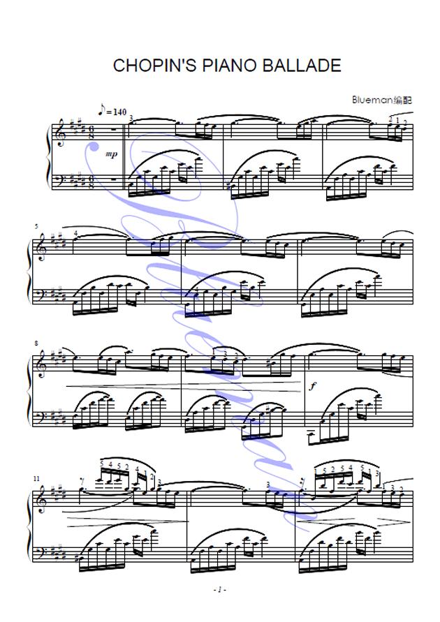 肖邦的钢琴叙事曲钢琴谱 第1页
