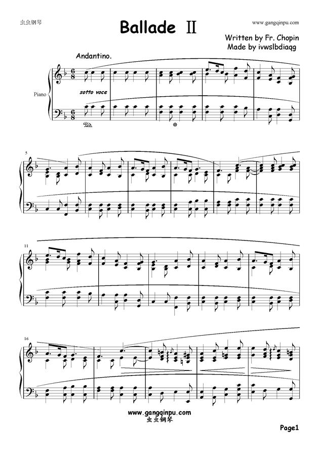 f调谱子陶笛-肖邦 钢琴谱 叙事曲
