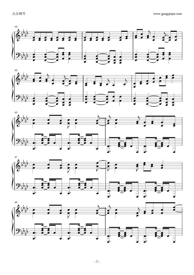 被害妄想携�∨�子钢琴谱 第5页