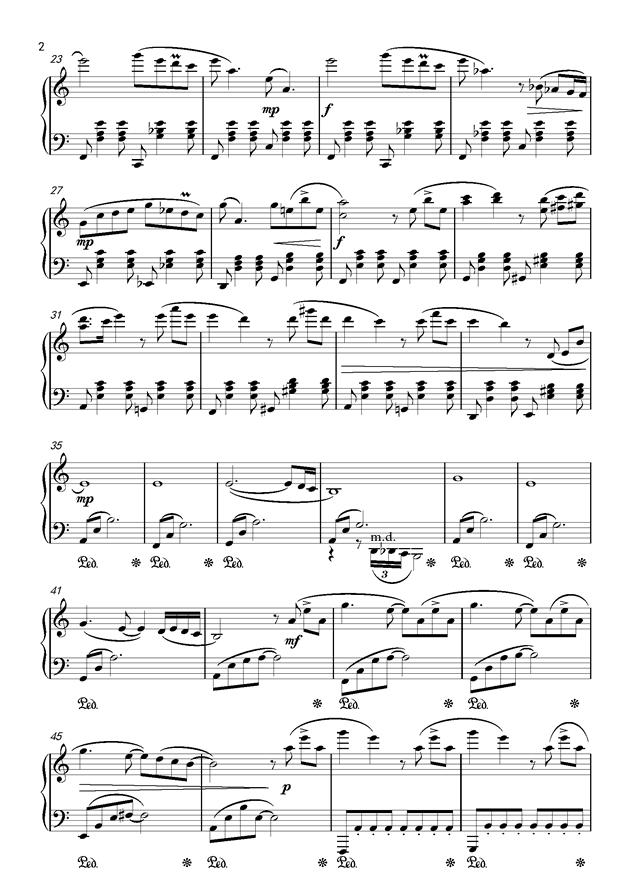 等我回来钢琴谱 第2页