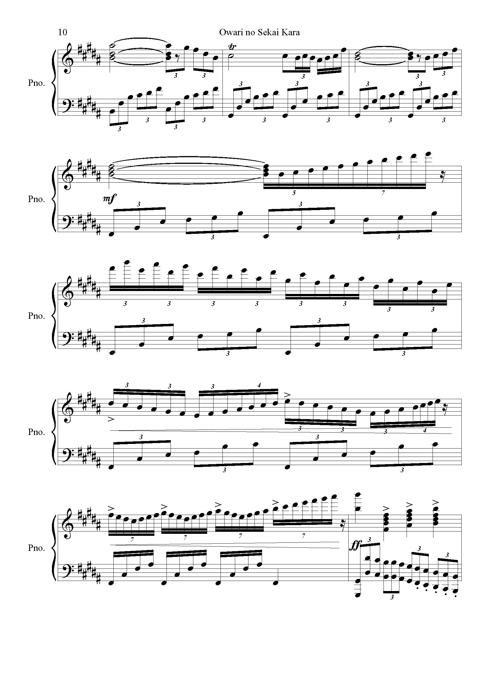 麻枝准-�Kわりの世界から钢琴谱 第10页