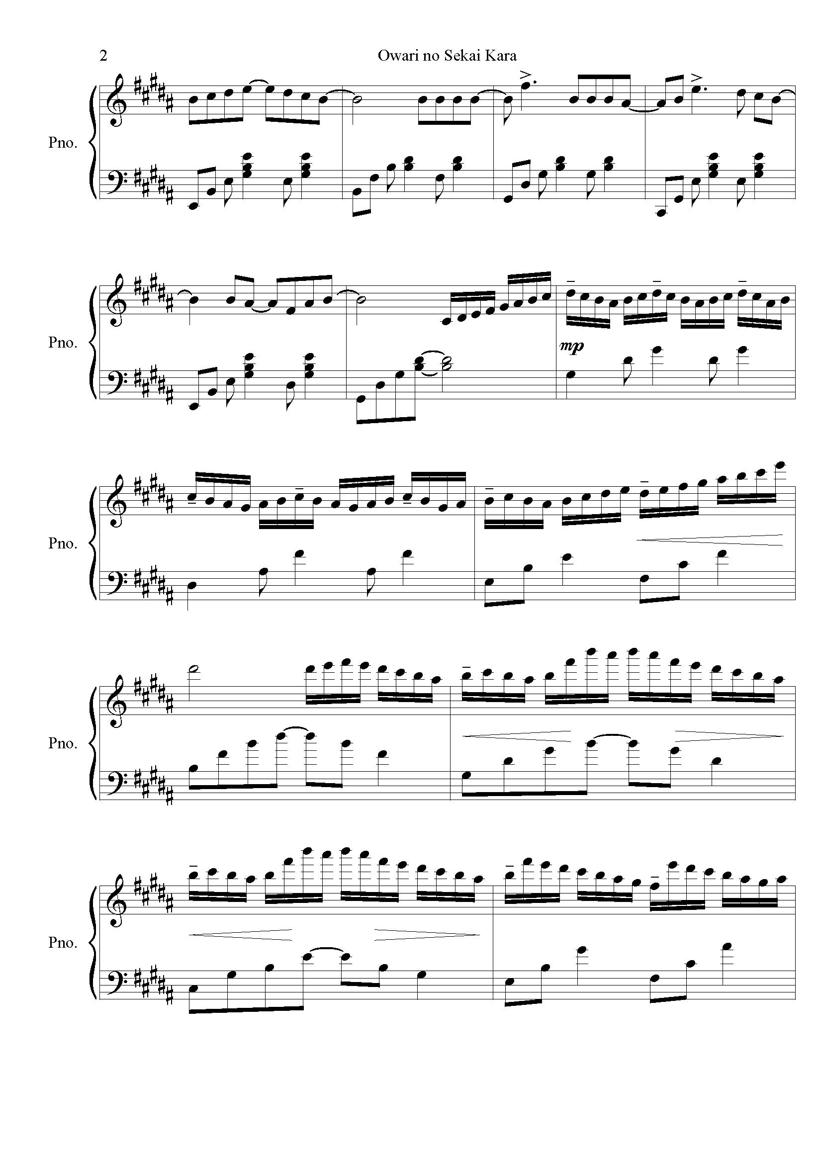 麻枝准-�Kわりの世界から钢琴谱 第2页
