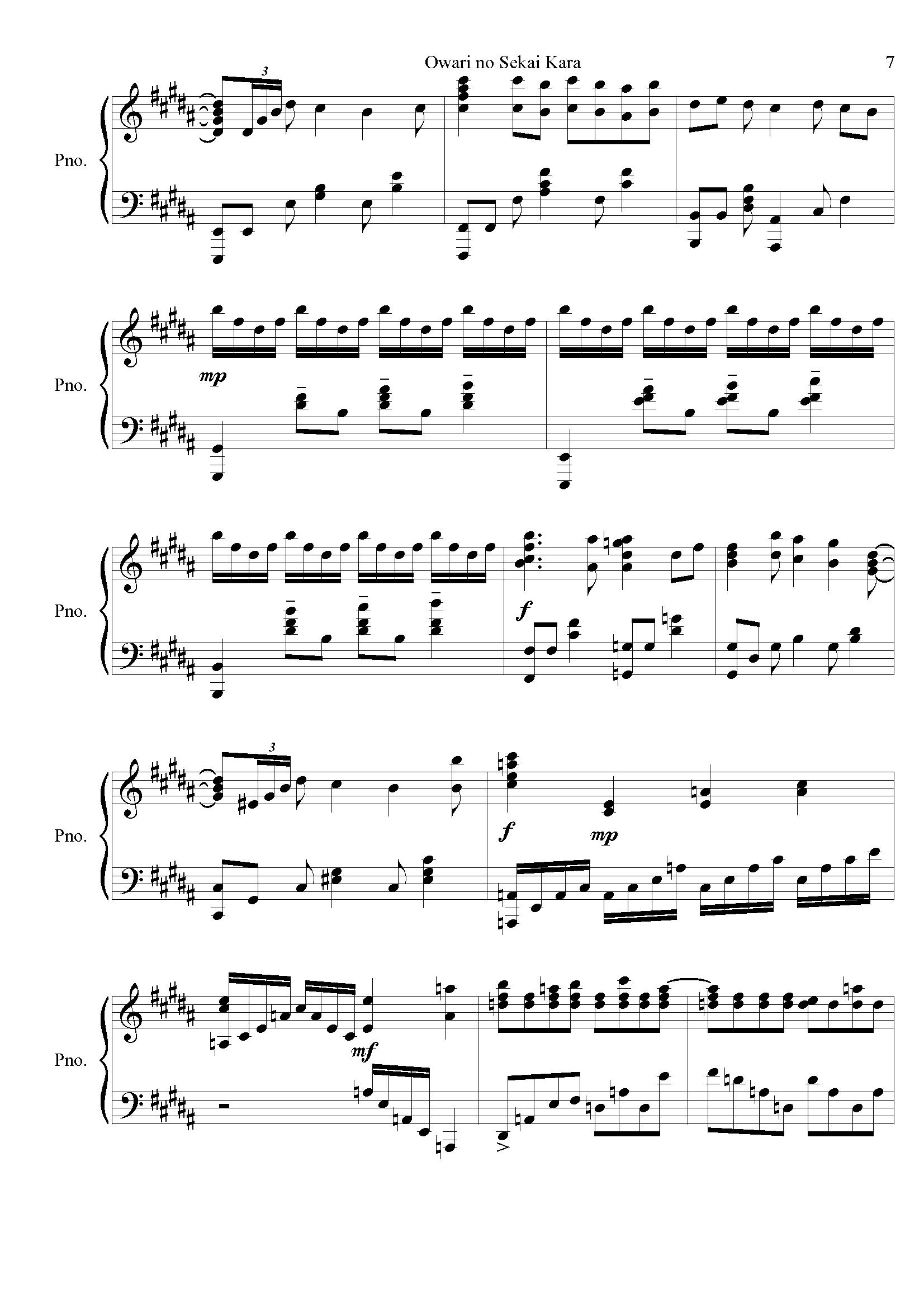 麻枝准-�Kわりの世界から钢琴谱 第7页
