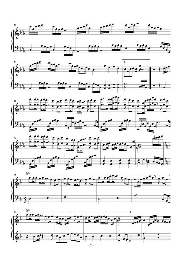 天刀画心双键曲谱-钢琴谱 孤单 夏天的