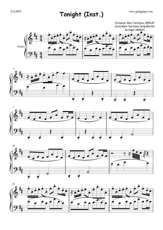 Tonight钢琴谱 第1页