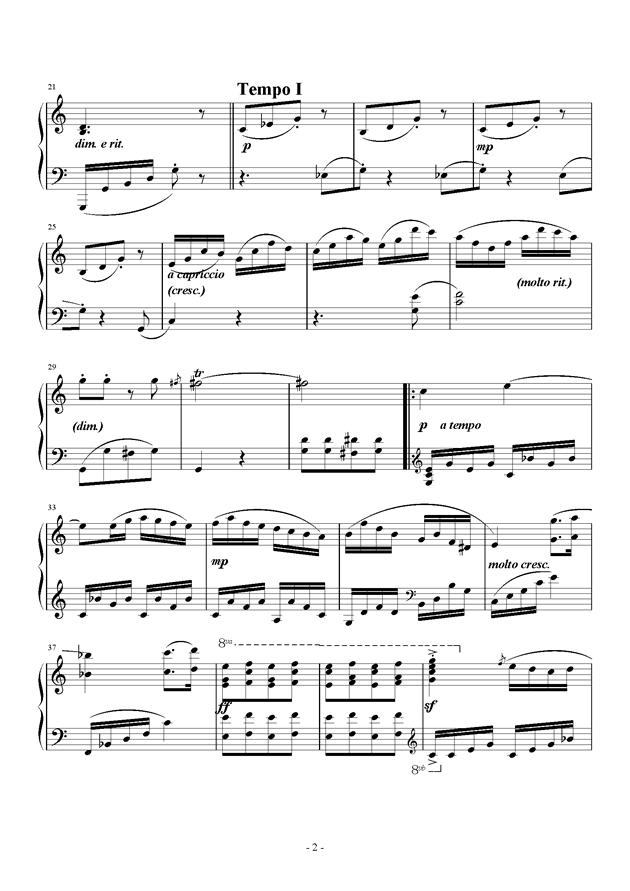 C大调小奏鸣曲钢琴谱 第2页