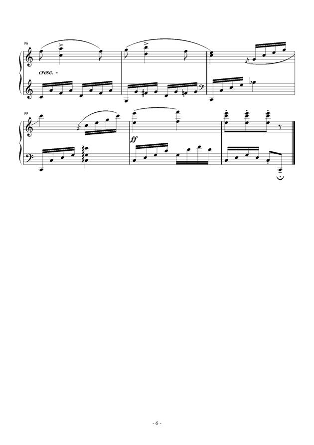C大调小奏鸣曲钢琴谱 第6页