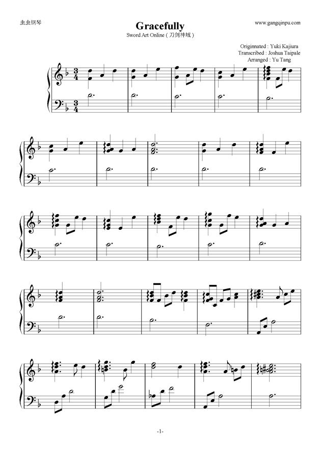 Sword Art Onli钢琴谱 第1页
