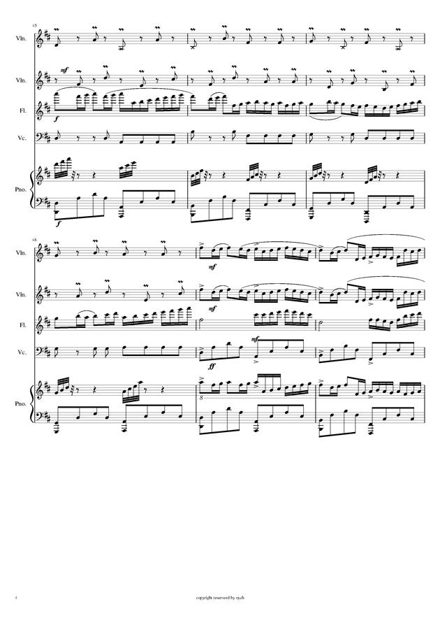 卡农 五重奏 钢琴 小提琴X2 大提琴 长笛,卡农 五重奏 钢琴 小提琴X2