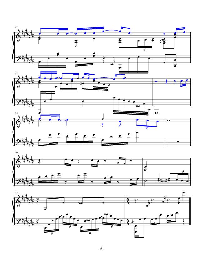 微光钢琴谱 第6页