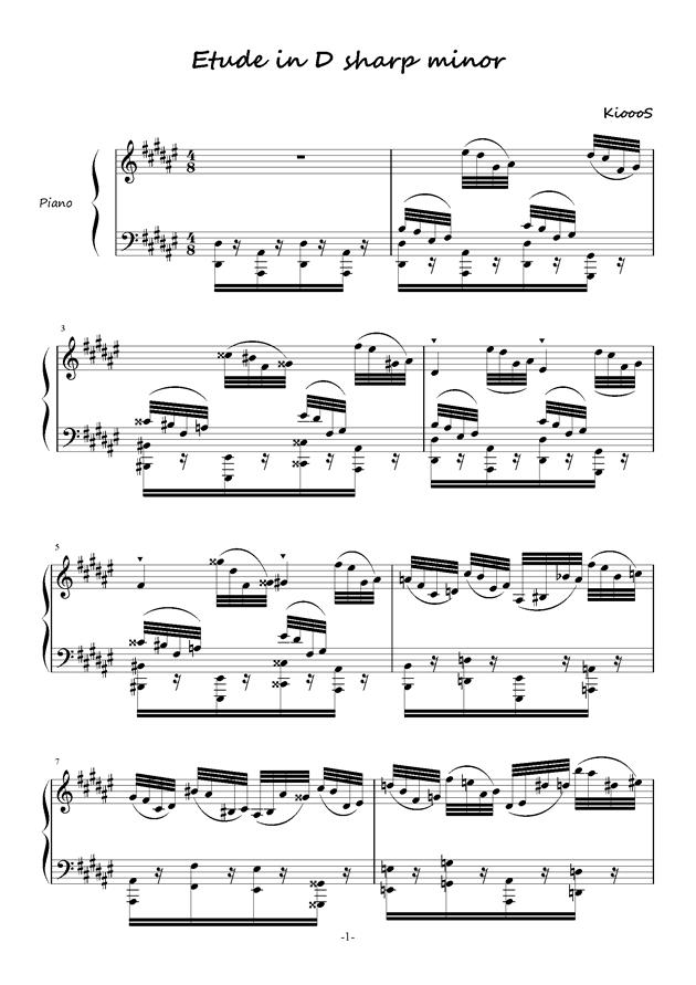 Etude in #d minor钢琴谱 第1页