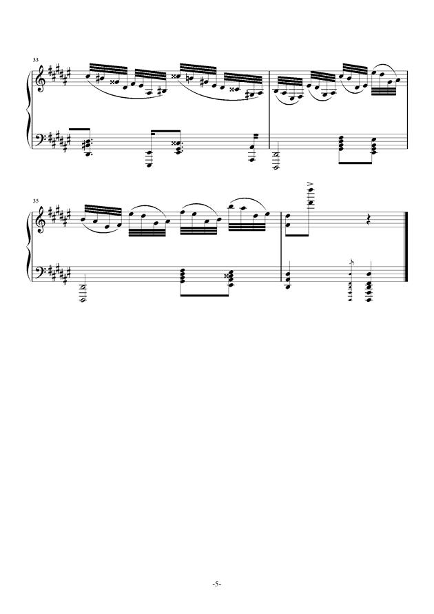 Etude in #d minor钢琴谱 第5页