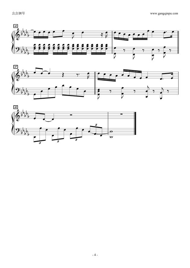 不完美小孩钢琴谱 第4页