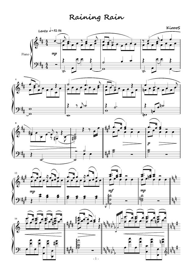 Raining Rain钢琴谱 第1页