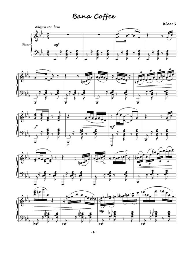 Bana Coffee钢琴谱 第1页