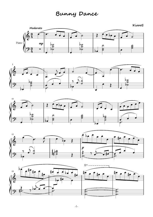 Bunny Dance钢琴谱 第1页