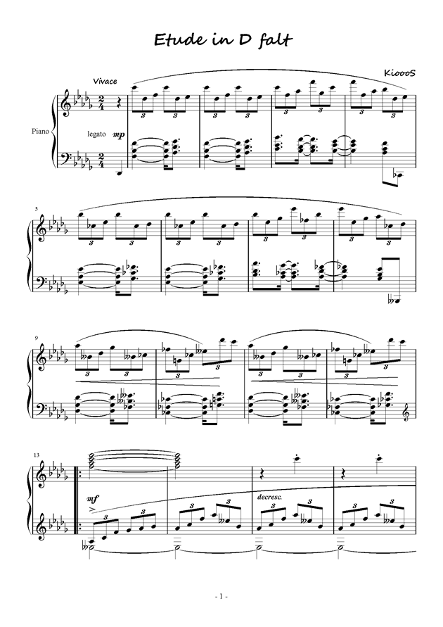 Etude in D flat钢琴谱 第1页