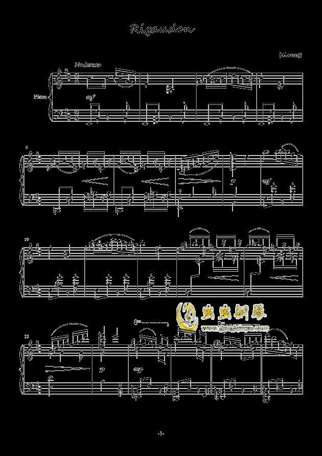 里格顿舞曲钢琴谱 第1页