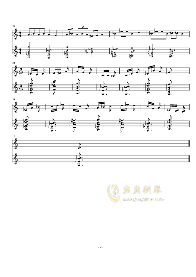 阿拉伯爵士布鲁斯钢琴谱 第2页
