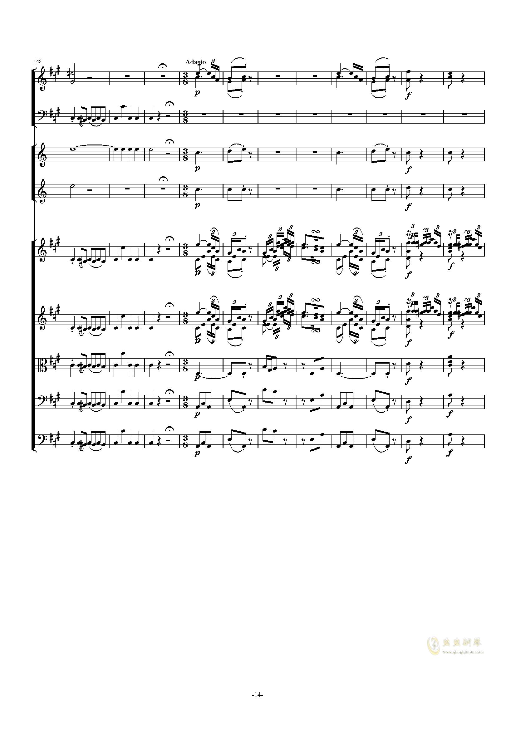 F#小调第45交响曲Finale钢琴谱 第14页