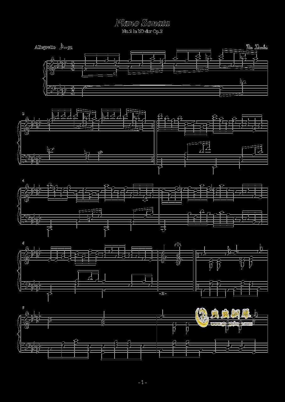 第二钢琴奏鸣曲第二乐章钢琴谱 第1页